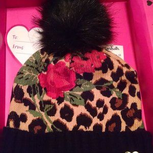 Betsey Johnson Leopard & Rose Pom Pom Beanie NWT